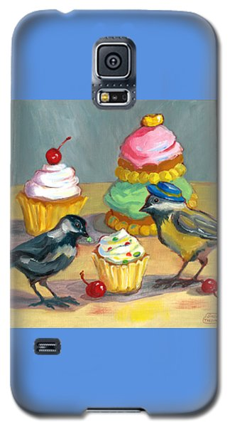 Galaxy S5 Case featuring the painting Cupcakes And Chickadees by Susan Thomas