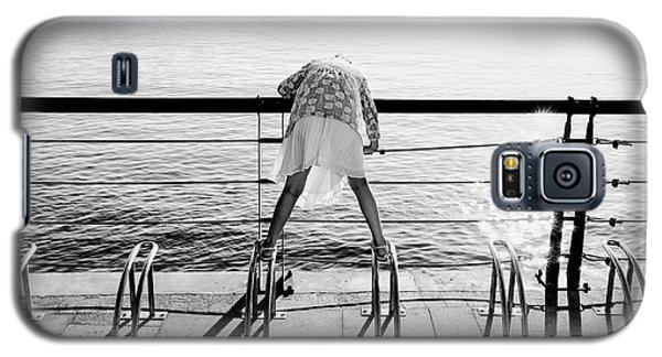 Galaxy S5 Case featuring the photograph Curious Girl By The Sea by Dean Harte