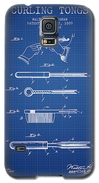 Curling Tongs Patent From 1889 - Blueprint Galaxy S5 Case by Aged Pixel