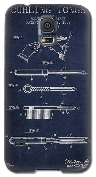 Curling Tongs Patent From 1889 - Navy Blue Galaxy S5 Case by Aged Pixel