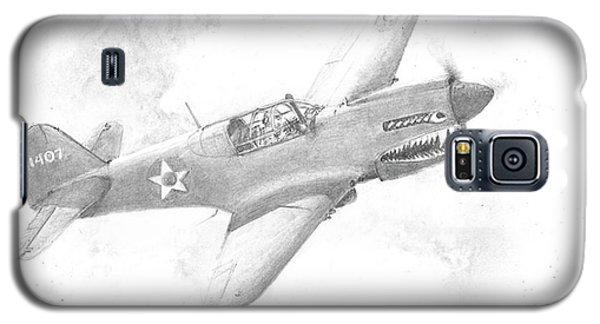 Galaxy S5 Case featuring the drawing Curtiss P-40 Warhawk by Jim Hubbard