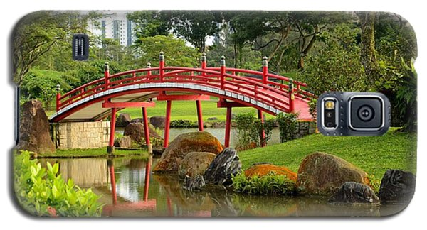 Galaxy S5 Case featuring the photograph Curved Red Japanese Bridge And Stream Chinese Gardens Singapore by Imran Ahmed