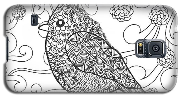 Branch Galaxy S5 Case - Cute Bird In Fantasy Flower Garden by Palomita