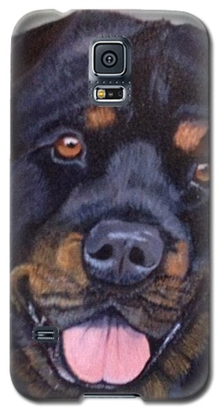 Galaxy S5 Case featuring the painting Cutter The Rottweiller by Sharon Schultz