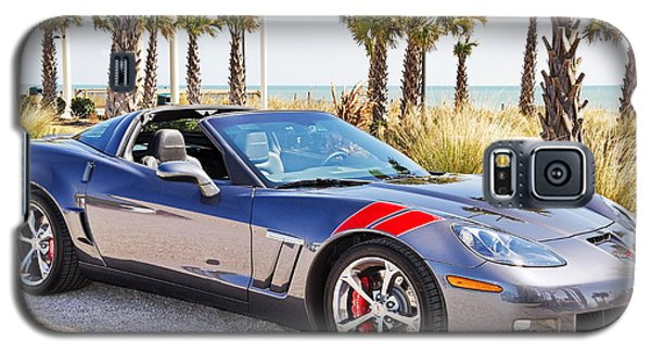 Cyber Gray Grand Sport Corvette At The Beach Galaxy S5 Case