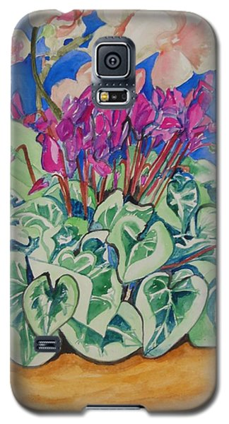 Cyclamen And Orchids In A Flower Pot Galaxy S5 Case by Esther Newman-Cohen