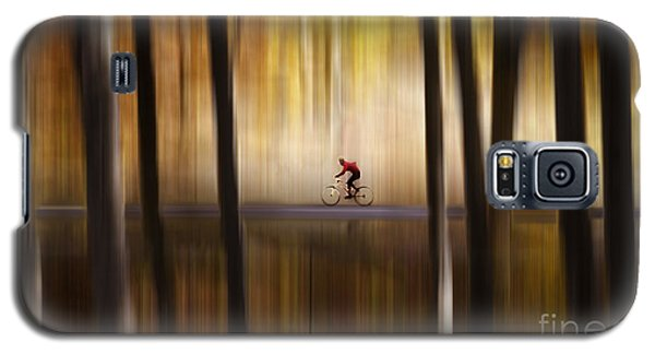 Cyclist In The Forest Galaxy S5 Case by Yuri Santin
