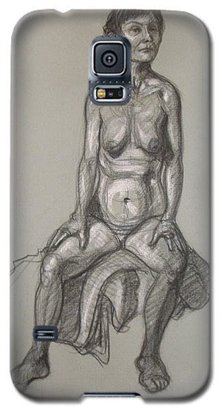 Galaxy S5 Case featuring the drawing Cynthia - Seated Nude by Donelli  DiMaria