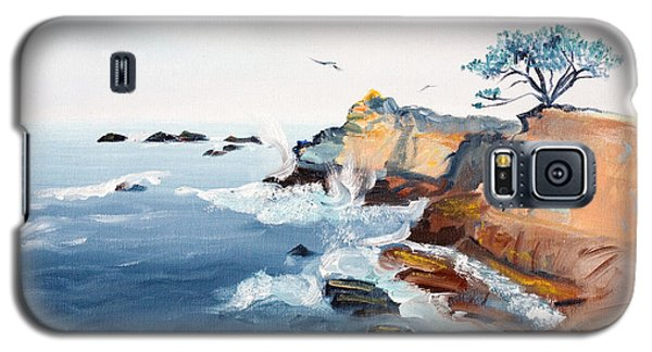 Galaxy S5 Case featuring the painting Cypress And Seagulls by Asha Carolyn Young