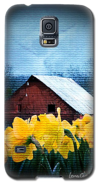 Daffodils And A Red Barn Galaxy S5 Case by Lena Wilhite