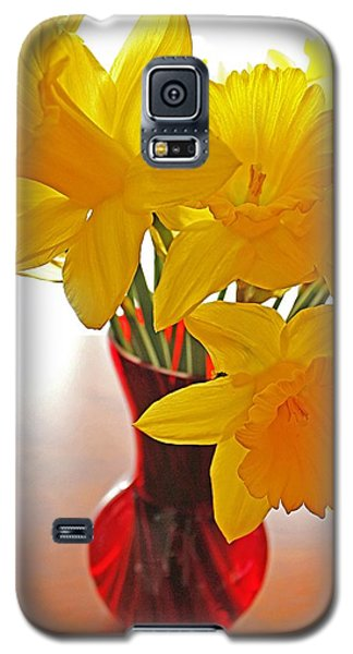 Daffodils In Red Vase Galaxy S5 Case by Diane Alexander