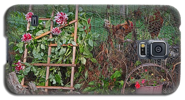 Galaxy S5 Case featuring the photograph Dahlias And Chickens by Denise Romano