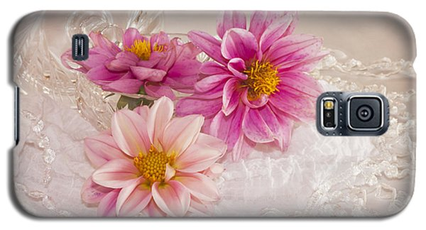 Galaxy S5 Case featuring the photograph Dahlias And Lace by Sandra Foster