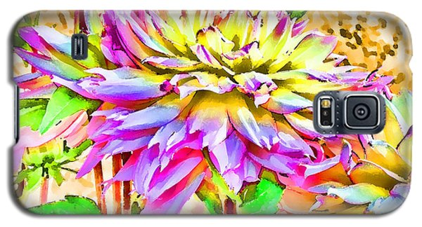 Galaxy S5 Case featuring the photograph Dahlias In Digital Watercolor by Sandra Foster