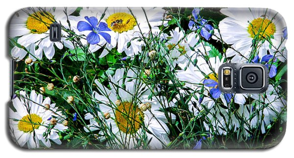 Daisies With Blue Flax And Bee Galaxy S5 Case by Roselynne Broussard