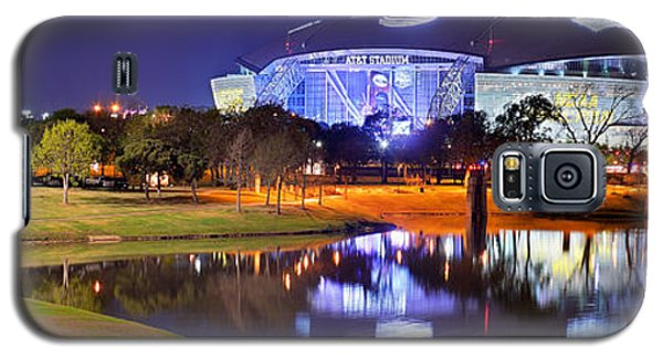 Dallas Cowboys Stadium At Night Att Arlington Texas Panoramic Photo Galaxy S5 Case by Jon Holiday