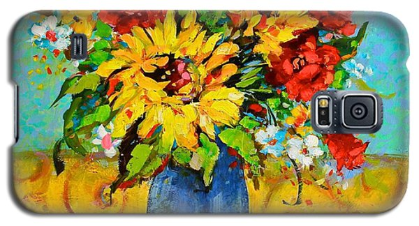 Damask Sunflowers Galaxy S5 Case by Sharon Furner