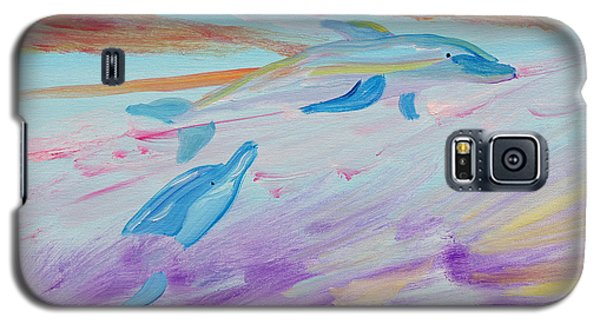Galaxy S5 Case featuring the painting Dancing Dolphins by Meryl Goudey