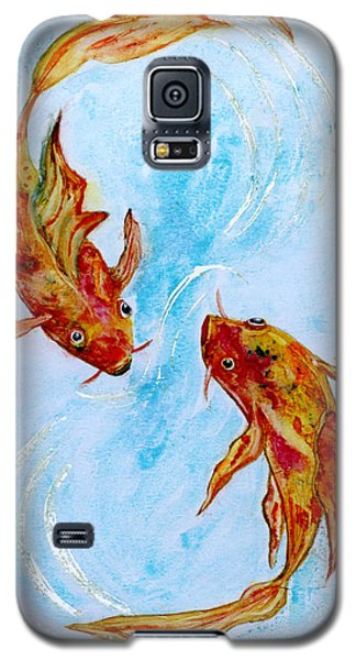 Galaxy S5 Case featuring the painting Dancing Koi Sold by Antonia Citrino