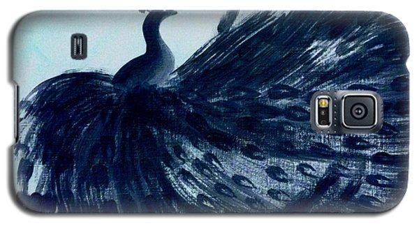 Galaxy S5 Case featuring the digital art Dancing Peacock Aqua by Anita Lewis