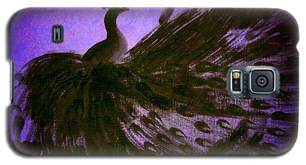 Galaxy S5 Case featuring the digital art Dancing Peacock Vivid Blue by Anita Lewis