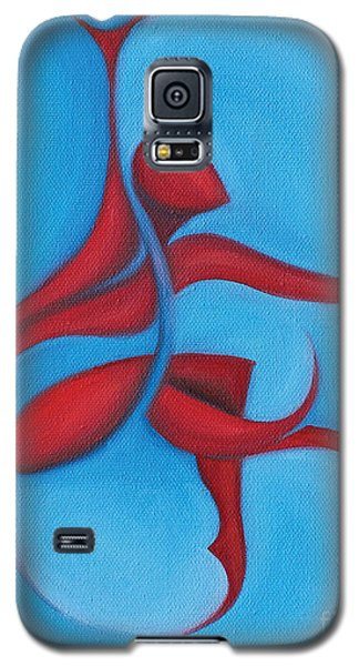 Galaxy S5 Case featuring the painting Dancing Sprite In Red And Turquoise by Tiffany Davis-Rustam