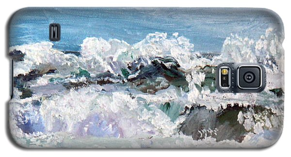Galaxy S5 Case featuring the painting Dancing Waves by Michael Helfen