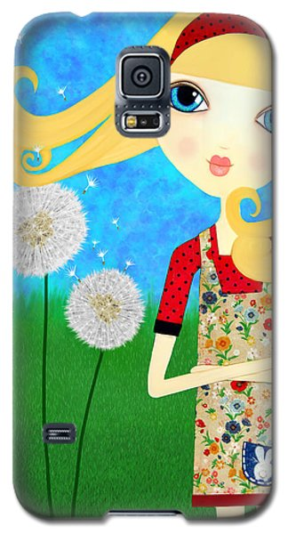 Galaxy S5 Case featuring the painting Dandelion Wishes by Laura Bell