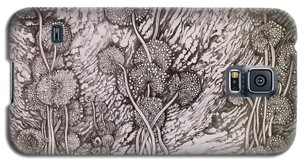 Galaxy S5 Case featuring the drawing Dandelions by Iya Carson