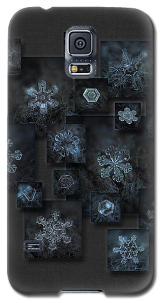 Galaxy S5 Case featuring the photograph Snowflake Collage - Dark Crystals 2012-2014 by Alexey Kljatov