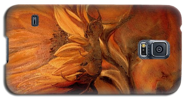 Galaxy S5 Case featuring the painting Dark Sunflower by Sorin Apostolescu