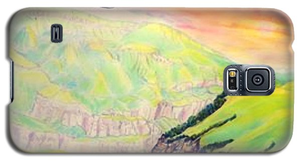 Galaxy S5 Case featuring the painting Dawn Like Butter Pouring Over The Inal Plateau Steppe Tyzyl Gorge  Kabardino Nalchik Russia by Anastasia Savage Ealy