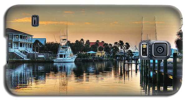 Dawn On A Orange Beach Canal Galaxy S5 Case by Michael Thomas