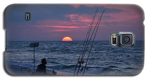 Galaxy S5 Case featuring the photograph Daybreak On Navarre Beach With Deng The Fisherman by Jeff at JSJ Photography