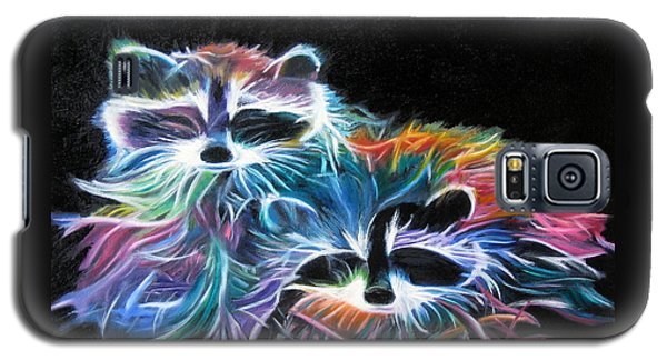 Galaxy S5 Case featuring the painting Dayglow Raccoons by LaVonne Hand