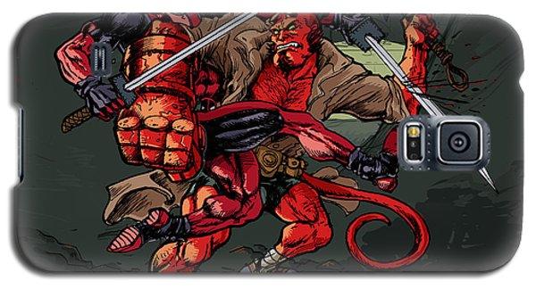 Galaxy S5 Case featuring the mixed media Deadpool Vs Hellboy by John Ashton Golden