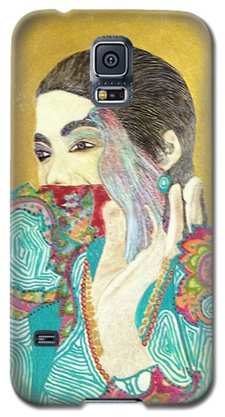 Galaxy S5 Case featuring the painting Dearest Farah Pahlavi by Sima Amid Wewetzer