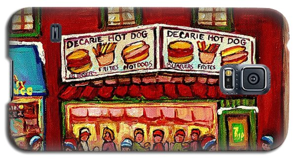 Decarie Hot Dog Restaurant Cosmix Comic Store Montreal Paintings Hockey Art Winter Scenes C Spandau Galaxy S5 Case