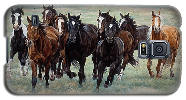 Galaxy S5 Case featuring the painting Deco Horses by JQ Licensing