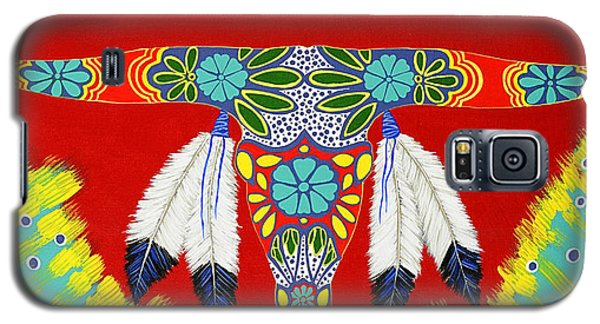 Galaxy S5 Case featuring the painting Longhorn by Debbie Chamberlin