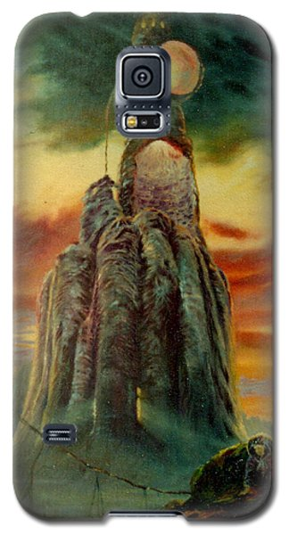 Galaxy S5 Case featuring the painting Defenders Of Rocky Desert by Henryk Gorecki