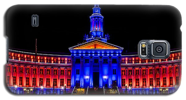 Denver City And Country Building In Bronco Blue And Orange Galaxy S5 Case