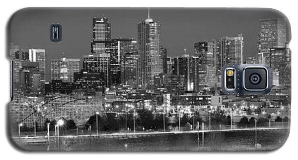 Galaxy S5 Case featuring the photograph Denver Skyline At Dusk Black And White Bw Evening Panorama Broncos Colorado  by Jon Holiday