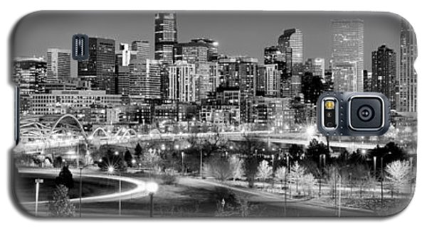 Galaxy S5 Case featuring the photograph Denver Skyline At Dusk Evening Bw Black And White Evening Panorama Broncos Colorado  by Jon Holiday