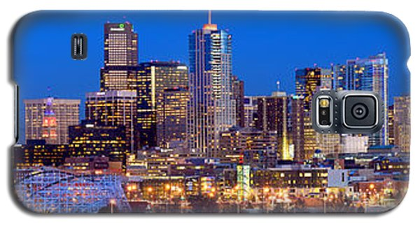 Galaxy S5 Case featuring the photograph Denver Skyline At Dusk Evening Color Evening Extra Wide Panorama Broncos by Jon Holiday