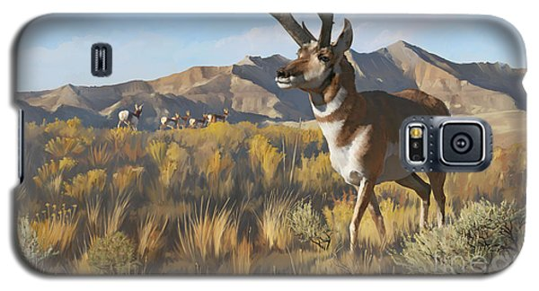 Galaxy S5 Case featuring the painting Desert Buck by Rob Corsetti