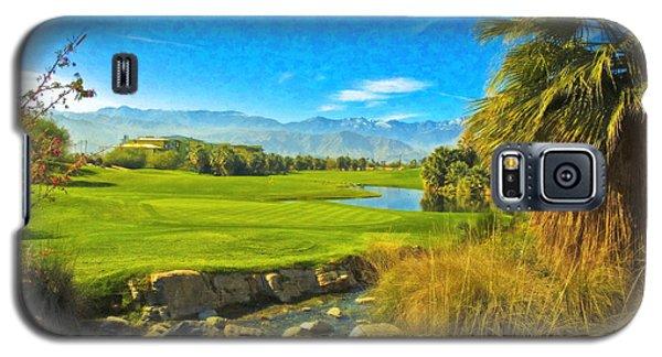 Galaxy S5 Case featuring the photograph Desert Golf Resort Pastel Photograph by David Zanzinger