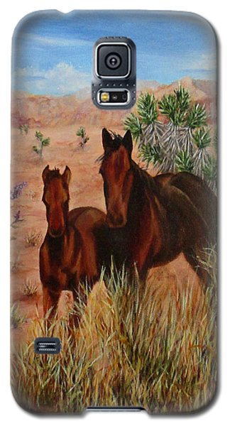 Galaxy S5 Case featuring the painting Desert Horses by Roseann Gilmore
