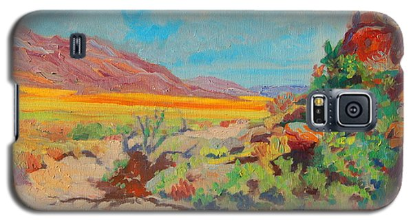Galaxy S5 Case featuring the painting Desert Spring Flowers Namaqualand With Rock Outcrop by Thomas Bertram POOLE