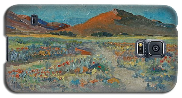 Galaxy S5 Case featuring the painting Desert Spring Flowers With Orange Hill by Thomas Bertram POOLE